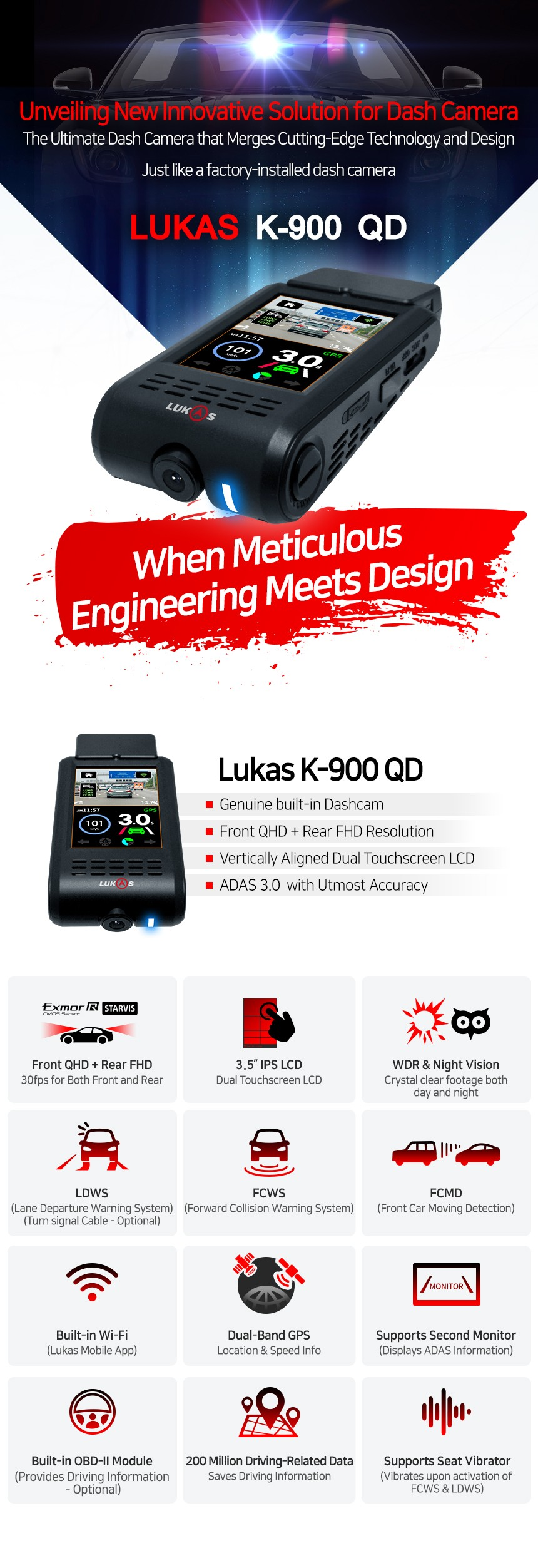 Lukas K-900 QD 2CH Dash Camera